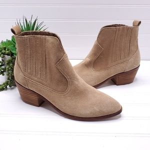 Steve Madden Bounty Taupe Suede Ankle Bootie